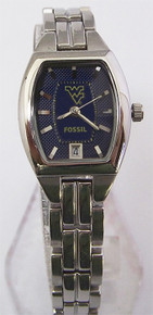 West Virginia Mountaineers Watch Fossil Ladies Date SS Wristwatch NEW