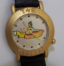 The Beatles Yellow Submarine Watch in Wooden Guitar Display Case Gold