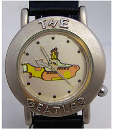 The Beatles Yellow Submarine Watch in Wood Guitar Display Case Silver
