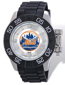 NY New York Mets Watch Game Time Beast Mens Black Wristwatch MLB