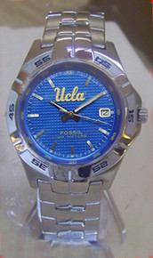 UCLA Bruins Fossil watch Mens Three Hand Date Stainless Wristwatch