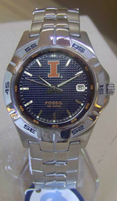University Illinois Illini Fossil watch Mens 3 Hand Date Wristwatch