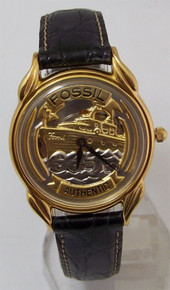 Fossil Yacht Watch Ship Sailors Vintage Collectors Boat Wristwatch