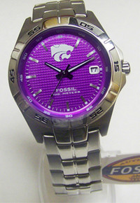 Kansas State Wildcats Fossil Watch Mens Three Hand Date Wristwatch