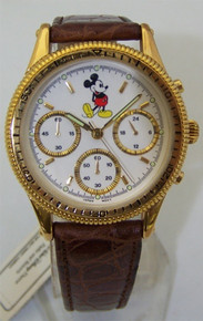Mickey Mouse Chronograph Watch Gold Tone Mens Dress Disney Wristwatch