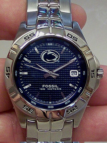 Penn State Fossil Watch Mens Nittany Lions 3 Hand Date Wristwatch New
