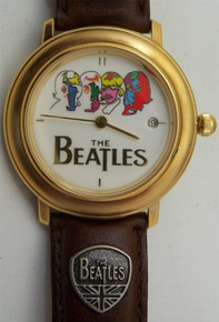 The Beatles Watch Wind Up Psychedelic Date Wristwatch in Guitar Case