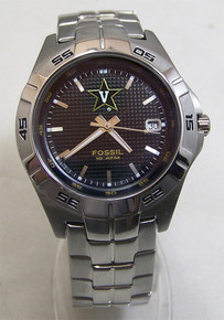 Vanderbilt University Fossil Watch Mens 3 Hand Date Wristwatch NEW