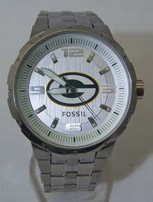 Green Bay Packers Fossil Watch Mens Silver Large Logo wristwatch NEW