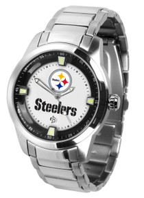 Pittsburgh Steelers Watch Mens Game Time Titan Series Stainless Wristwatch