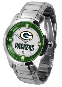 Green Bay Packers Watch Mens Game Time Titan Stainless Date Wristwatch