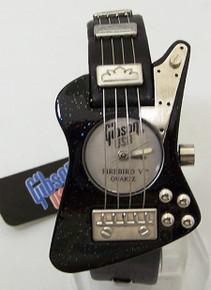 Gibson Guitar Watch Gibson Firebird V Black Wristwatch In Guitar Case