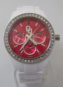 Oklahoma Sooners Watch Fossil Womens Ladies White Resin Wristwatch New