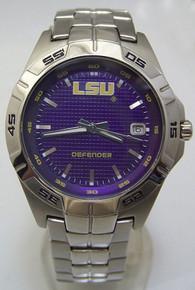 LSU Tigers Fossil Watch Mens Three Hand Date Defender Wristwatch