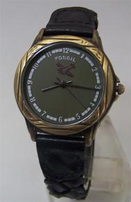 Fossil Airplane Watch Vintage Novelty Pilots Aircraft Wristwatch Green
