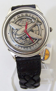 Fossil Airplane Watch Vintage Pilots Aircraft Mens Wristwatch Red Hand