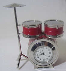 Drum Set Desk Clock Novelty Collectible Drummer Drums Collectible Gift