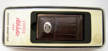 Fossil Ohio State Buckeyes Money Clip Mens Ohio Leather Magnetic Clip