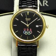 Pulsar Olympics USA Watch Seiko Gold Tone Quartz Wristwatch