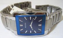Bulova Mens Classic Watch Blue Dial Stainless Steel Dress Wristwatch