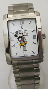 Bulova Mickey Mouse Watch Mens White Disney Stainless Dress Wristwatch