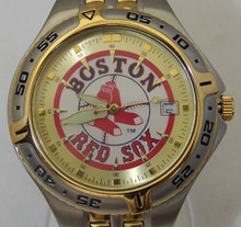 Boston Red Sox Fossil Watch Mens 3 Hand Date Silver Gold Wristwatch