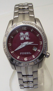 Mississippi State Fossil Watch Womens Sports Wristwatch Stainless New