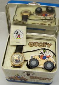 Disney Goofy Watch Set with Car and Tin Fossil Gold LI1610 Wristwatch