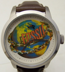 Fossil Watch Cars Around Globe with Rotating Airplane Mens Wristwatch