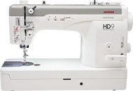 Fast speeds and smart design make the HD9 Professional the perfect machine for sewing and quilting! You'll find everything you need to complete projects quickly and easily. With sewing speeds up to 1,600 stitches per minute, serious sewists can experience efficiency like never before and with sturdy construction including eight enclosed ball bearings in the main shaft of the machine you will experience the quiet and smooth sewing that Janome is known for. The side-loading bobbin allows for easy access and is industrial-sized, holding 1.4X more thread than a standard bobbin.  When sewing with average weights of thread, the automatic thread cutter can be accessed via the thread cutter button or the remote thread cutter - making the end of each seam that much easier to finish; heavier weight threads are not a problem either with the new Heavy Weight Thread Guide (HWTG). Tackle home décor and leather crafts with beautiful seams and top-stitching when using heavy weight threads on denim, canvas and leather.