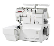 The Janome AT2000D is the Newest top of line heavy duty Janome serger. The 2000D is a 2 needle, 2/3/4 thread convertible serger with Janome Air Threading. Just one push of a button a blast of air threads your Serger as quick as a blink of an eye. The 2000D is equipped with extra large air thread loopers, an ultra easy rolled hem, Large tension disks, advanced differential feed, adjustable cutting width. The largest high travel Janome cutting blades, and solid cast aluminum metal frame. The AT2000D is also equipped with an extra large 8 feed dog feeding system capable of feeding every fabric with ease including poler fleece. The Motor on the Janome air serger is specially designed to give maximum piercing power and control over difficult fabrics, and at the same time the 2000D is the most energy efficient of any serger in Janome history. This Air threader is equipped with a full spectrum LED light allowing you to see thread colors in the same way as out door lighting. The easy to understand Janome Instruction book is in English / French and Spanish/. (dust cover included)