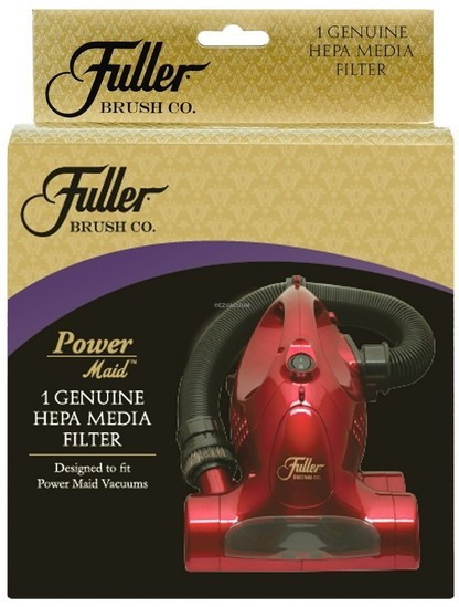 Genuine Fuller Brush Power Maid HEPA Media Filter. Original part # FBPM-FILTER. Washable HEPA media filter fits the Fuller Brush Power Maid hand vacuums, Genuine replacement HEPA media filter is designed for Fuller Brush Power Maid hand vacuums, including models FB-PM and FB-PM4. The pleated HEPA media filter captures dirt, dust and allergens. Filter may be rinsed, dried and reused. Clean or change filter regularly for best results.