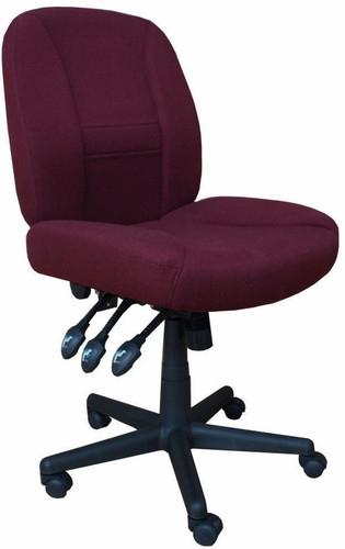 Contoured seat and back with lumbar support,Thick padded seat,Heavy duty upholstery,Fire retardant foam padding,Pneumatic height adjustment,6-Way adjustment for extra comfort,Twin wheel heavy duty casters,Meets or exceeds ANSI/BIFMA standard. Available in Beige Upholstery - Black Base (99), Burgundy Upholstery - Black Base (66) and Blue Upholstery - Black Base (61)