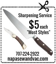 Knives sharpened @ $5 each.