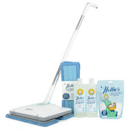 Nellie's WOW Mop Bundle has everything you need to get the best looking clean! This bundle includes the brand new Nellie's WOW Mop and two bottles of Nellie's Floor Care (scented with our signature lemongrass fragrance). This WOW Mop Bundle also includes an extra set of WOW Wet Floor cleaning pads, which can be reused up to 100 times each. And as an added bonus, this bundle comes with a 50 Load pouch of our bestselling Laundry Soda, so that you can wash your reusable pads in Nellie's finest and help keep the environment as clean as your floors!