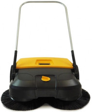 FiRMHORN Civic ECO power - push powered, gear driven, three brush, light weight, wide area sweeping machine with 31 inch / 77 cm sweeping width, 13.2 gallon / 50 liters debris container, 8 height settings, 4 years brush wear warranty.