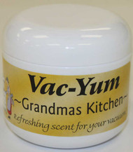 VacYum Grandma's Kitchen Vacuum Scent. Refreshing scent for your vacuum. Place 1 tablespoon of Vac-Yum inside a new vacuum bag. If you have a bagless vacuum, you can place a tablespoon of Vac-Yum in the dirt cup. Sold each in a 1.8 ounce jar (51g).