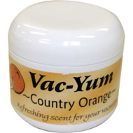 Vac-Yum Country Orange Vacuum Scent. Refreshing scent for your vacuum. Place 1 tablespoon of VacYum inside a new vacuum bag. If you have a bagless vacuum, you can place a tablespoon of Vac Yum in the dirt cup. Sold each in a 1.8 ounce jar (51g).