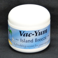 Vac-Yum Island Breeze Vacuum Scent. Refreshing scent for your vacuum. Place 1 tablespoon of VacYum inside a new vacuum bag. If you have a bagless vacuum, you can place a tablespoon of Vac Yum in the dirt cup. Sold each in a 1.8 ounce jar (51g).