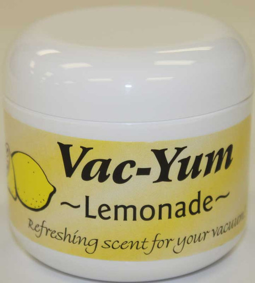 Vac-Yum Lemonade Vacuum Scent. Refreshing scent for your vacuum. Place 1 tablespoon of VacYum inside a new vacuum bag. If you have a bagless vacuum, you can place a tablespoon of Vac Yum in the dirt cup. Sold each in a 1.8 ounce jar (51g).