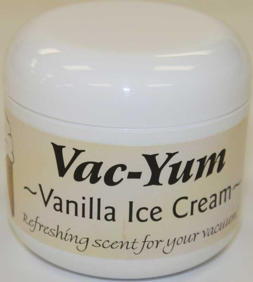 Vac-Yum Vanilla Ice Cream Vacuum Scent. Refreshing scent for your vacuum. Place 1 tablespoon of VacYum inside a new vacuum bag. If you have a bagless vacuum, you can place a tablespoon of Vac Yum in the dirt cup. Sold each in a 1.8 ounce jar (51g).