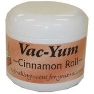 Vac-Yum Cinnamon Roll Vacuum Scent. Refreshing scent for your vacuum. Place 1 tablespoon of VacYum inside a new vacuum bag. If you have a bagless vacuum, you can place a tablespoon of Vac Yum in the dirt cup. Sold each in a 1.8 ounce jar (5