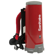 Sanitaire: E-SC530A Vac, 10-Qt Backpack Quiet  Increase productivity with the versatile TRANSPORT™ backpack vacuum with a large 10-qt.-capacity bag, 50-foot pigtail cord and included tools for carpet, bare floor, upholstery, stairs and more. Clean during the day at only 63 dBA with this CRI Silver certified backpack. Cushioned harness designed with load dispersion technology for added user comfort.