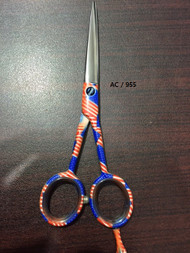"""The Patriot"" 6"" Pro Styling Scissor - Hollow ground Japanese steel. Wave your flag with every hair cut. Share your handy work with patriotic symbolism."
