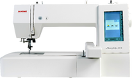 """Upgradeable computerized embroidery machine featuring 160 build in designs, 6 fonts for monogramming, 7.9'x7.9"""" maximum embroidery size, 860SPM embroidery speed, USB for easy transfer of designs, programmable jump thread trimming, direct jump to desired stitch, full color LCD touchscreen, built-in advanced needle threader, adjustable hoop positioning, bobbin thread sensor and on-screen editing functions. Dust cover and one hoop included."""