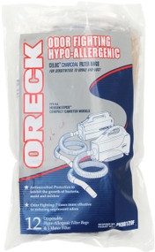 12 odor fighting filter bags with one micro-filter 4 layers of filtration: 95% of particles at 0.3 microns Includes an activated carbon layer to reduce odor Each package contains 12 filtration bags & one replacement micro-filter for Oreck Handheld Vacuums Fits all Oreck Handheld Vacuum models BB180, BB280, BB850, BB870, BB880, BB900, BB1000, BB1100, BB1200, MV160 and CC1600