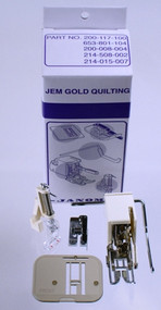 "Quilting Attachment Kit for Janome Jem Series. Kit Includes:  003200311003 (Low Shank Even Foot and Quilting Bar) 003200318000 (¼"" Seam Foot) 003941630000 (Low Shank Darning Foot) 003653801104 (Plastic Darning Plate) Instructional Sheet Use with:	639 Jem, 660 Jem, 661 Jem Gold, 662 Jem Silver, 665 Jem III, HF3125, HF3128, 3128, HF106, HF107"