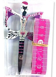 "Cat Scissor w/ Tape Measure - Pink - 3.5"" Butterfly Embroidery scissor"