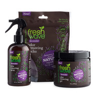 Lavender Kit SKU: 172 Introducing Fresh Wave Lavender: The same odor removing power of Fresh Wave, now infused with lavender oil. Known for its calming properties, the addition of lavender gives a boost to our trusted Fresh Wave best sellers. Now you can remove odors with lasting, relaxing lavender essence.