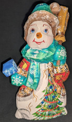 A SWEET HAND CARVED & HAND PAINTED RUSSIAN SNOWWOMAN/SNOWLADY #2776 SNOWMAN